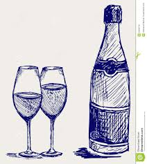 champagne bottle outline bottle and glass of champagne stock vector image 26595726