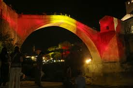 Colors Of Spains Flag Old Bridge In Mostar In Colors Of The Spanish Flag Sarajevo Times