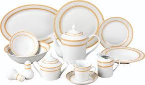 57 gold matte floral border porcelain dinnerware set