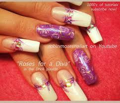purple flower nail art lavender roses nails design tutorial
