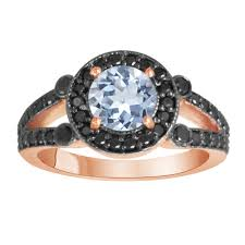 diamond cocktail rings gold 1 52 carat aquamarine black diamond cocktail ring