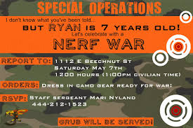 army birthday invitations nerf invitation templates