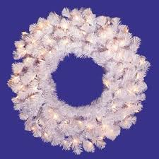 48 pre lit white artificial wreath clear dura