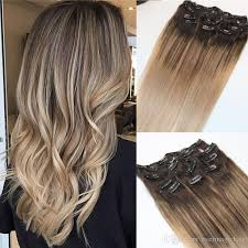 weft hair extensions 4 18 8a 120gram clip in human hair extensions ombre brown