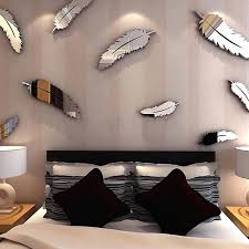 sticker mural chambre plumes 3d miroir stickers muraux papier peint diy accueil sticker