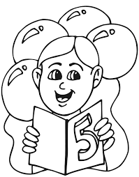 birthday coloring page a five year old holding his card