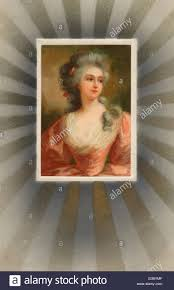 kitch 18th century woman with 1910s edwardian postcard kitch surround