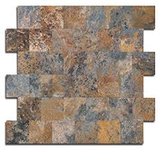 Amazoncom Peel And Stick Tile Backsplash PVC Rusty Slate Tile - Pvc backsplash