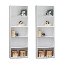 Narrow Black Bookcase by Amazon Com Ameriwood 5 Shelf Bookcase Set Of 2 White Kitchen