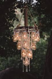 Rustic Chandeliers With Crystals Rustic Bling I Could Do This With The Jar Wagon Wheel