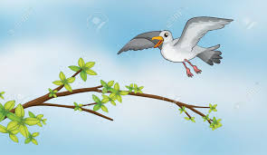 illustration of a flying bird and a stem of a tree royalty free
