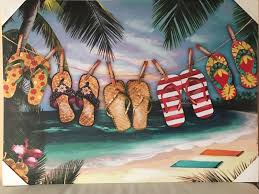 Mayrich Company Home Decor Vacation At The Beach Hand Embellished Canvas Wall Art Décor
