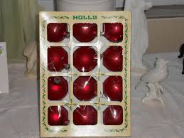 vintage box of 12 glass ornaments decorations inc