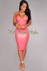 miami styles pink gold zipper accent dress