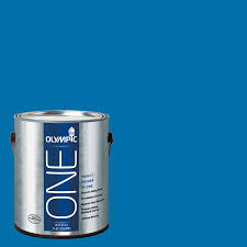 shop olympic one cobalt blue flat latex interior paint and primer