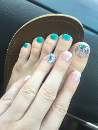 bio seaweed gel glitter blue matching hand and toes french nails