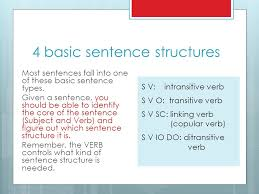 identify sentence pattern english grammar 4 basic sentence structures verb types argument structures educ