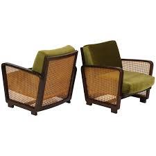 green velvet woven wicker rattan chairs deco modernist mid