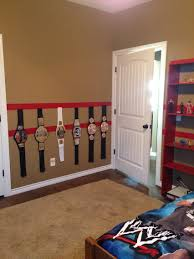 hank u0027s wwe room makeover adhered velcro to the wall for the belts