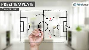 prezi template with a strategy game plan concept a hand drawing a