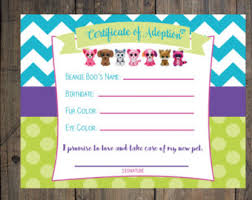 beanie boo party adoption certificates puppy party papers
