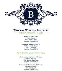wedding weekend itinerary template wedding weekend itinerary