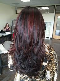 balayage red highlights dark hair long hair hair u0027do