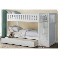 Twin Over Twin Bunk Beds With Trundle by Homelegance Galen Twin Over Twin Staircase Storage Bunk Bed With