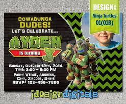 boys teenage mutant ninja turtles birthday photo invitations