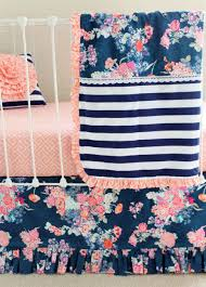 Floral Crib Bedding Sets Modern Navy Floral Baby Bedding Set Navy Floral Coral Bumperless Set