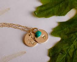 personalized initial jewelry of david necklace with hebrew initial tiny gold of