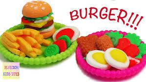 play doh burger hamburger playdough cooking games kitchen playset