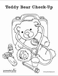teddy bear check up coloring page prescription for play