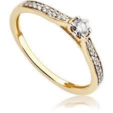 pierscionek zareczynowy pierścionek zaręczynowy z diamentami z żółtego złota p0529zb