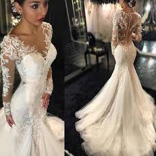 luxury mermaid wedding dresses luxury see through sleeve mermaid lace tulle wedding