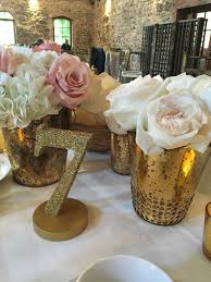 Gold Centerpiece Vases Rustic Chic Wedding At Brotherhood Winery Inncredible Caterers