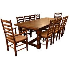 bespoke solid oak refectory dining table u0026 10 chairs