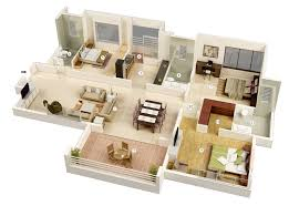 Simple Home Blueprints 25 More 3 Bedroom 3d Floor Plans