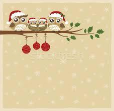 owl family at tree christmas banner vector illustration sau kit