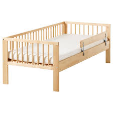 Child Bed Frame Baby Nursery Bed Frame With Safety Rails Blue White Fabric
