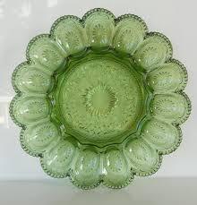 vintage deviled egg platter vintage brockway glass american concord green deviled egg tray