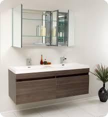 Bathroom Vanity Two Sinks Fresca Largo Gray Oak Modern Bathroom Vanity W Wavy Double Sinks