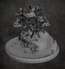 tree hut diorama polycount