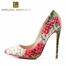 wedding shoes on women high heels snake printed shoes pumps pointed toe