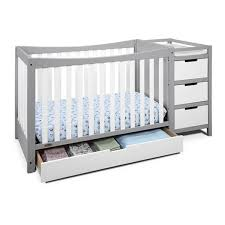 Baby Crib With Changing Table Graco Remi 4 In 1 Convertible Crib And Changer In White Pebble