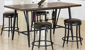 brown and metal 5 piece dining set with wine rack david