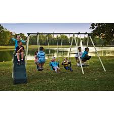 Playground Flooring Lowes by Shop Flexible Flyer Forest Park Swing Set At Lowes Com
