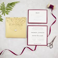 wedding invitations burgundy pocket laser cut wedding invites in gold and burgundy colors