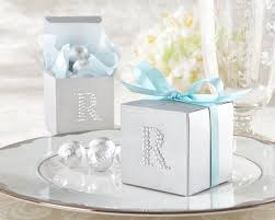 wedding favor boxes jeweled monogram silver favor kit set of 24