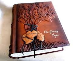 Personalized Scrapbook Large Wedding Leather Guest Book Tree Of Life Custom Scrapbook